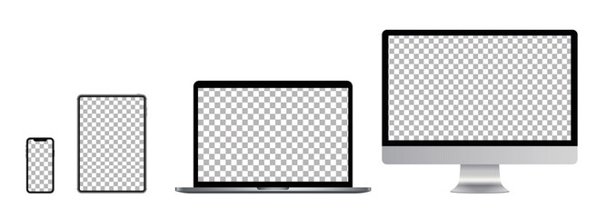 Set of computer, laptop in a flat vector style