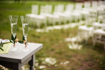 Glasses of champagne for newlyweds