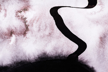 A Detail from an Abstract Watercolor and Ink Painting; A Meandering Ribbon.
