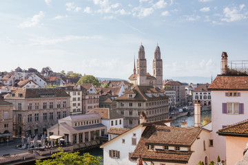 Aerial view of historic Zurich city center from Lindenhof park