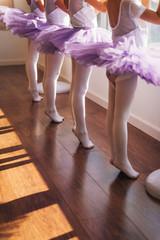 Children practicing ballet poses in ballet studio
