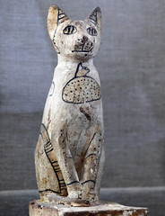 A cat statue that was discovered inside the tomb of Khufu-Imhat is displayed, at the Saqqara area near its necropolis, in Giza