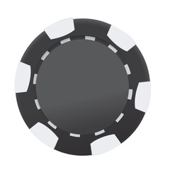 Black and white casino poker chip isolated on white background. Vector illustration.