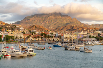 View on the harbor of Mindelo at dusk