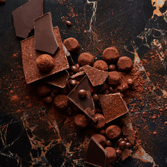 Chocolate truffles with cocoa