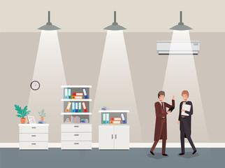 businessmen couple in corridor office