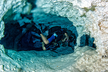 Wall Mural - halocline effect while diving in cenotes cave in Mexico