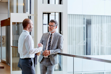 Businessmen Talking While Standing By Railing