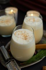 Eggnog. Homemade eggnog in glasses for Christmas.