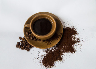coffee, cup, drink, espresso, brown, caffeine, cafe, black, breakfast, hot, beverage, mug, isolated, morning, aroma, food, saucer, cappuccino, fresh, closeup, liquid, close-up