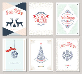 Elegant vertical winter holidays greeting cards with New Year tree, doves, reindeers, snowflake, Christmas ornaments and ornate typographic design.