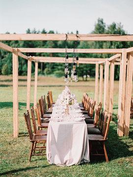 A table set ready for a wedding