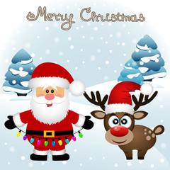 Christmas card. Funny postcard with Santa Claus and Christmas re