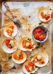 Oven baked scallops