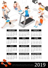 Isometric Fitness 2019 Year Calendar Template