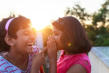 Girls making fun in outdoor