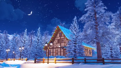 Wall Mural - Peaceful winter landscape with cozy snow covered half-timbered house illuminated by christmas lights among snowbound fir trees high in alpine mountains at starry night. 3D animation rendered in 4K