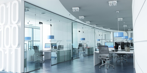 Modern corporate office blue Wall mural