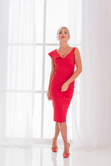 Truly pretty woman. Concept of femininity and grace. Modern sexy elegant woman in red dress. Simple and beautiful style, ladies psychology