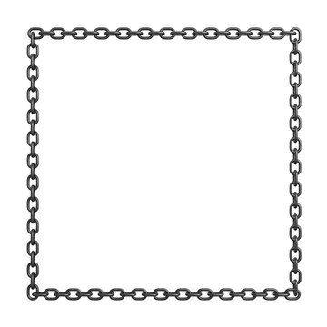 3d rendering of an iron chain lying on a white background in a shape of a large square.