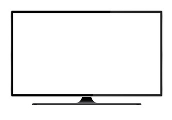 Realistic illustration of black TV with stand and blank white isolated screen with space for your text or image