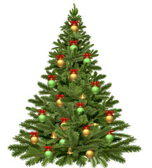 Christmas tree on white background. 3D rendering.