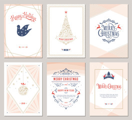 Elegant vertical winter holidays greeting cards with New Year tree, dove, reindeers, Christmas ornaments and ornate typographic design. Vector illustration.