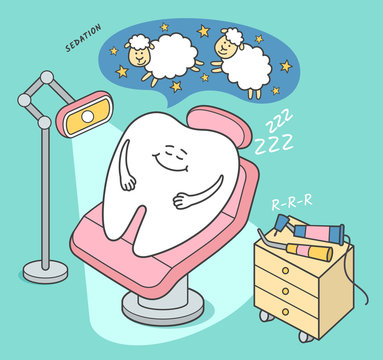 Stomatology sedation illustration. Cartoon tooth falls asleep in a dental chair. General Anesthesia. Dental care or treatment.