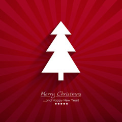 Red Vector Fir Tree with Beam Background and Lettering