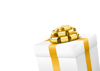 White Gift Box with Golden Bow and Isolated Background
