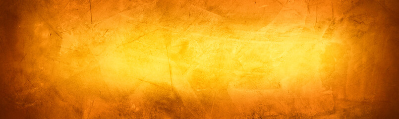 Horizontal yellow and orange grunge texture cement or concrete wall banner, blank  background Fototapete