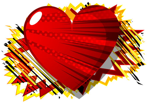 Vector illustrated comic book style heart, abstract love symbol. Icon, sign or emblem for graphic and web design.