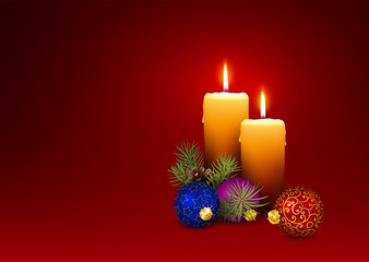3D Vector Candlelights - Christmas Greeting Card Template with Two Candles.