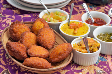 Brazilian food: acaraje with typical fillings