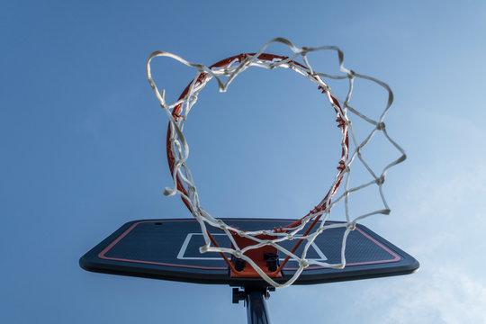 Basketball hoop seen from below