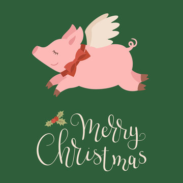 Funny flying pig with wings and red bow