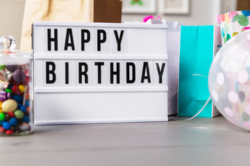 lightbox with happy birthday and presents