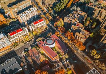 Urban scene of small village in autumn