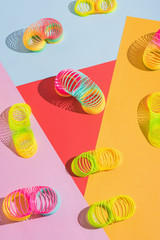 Colorful plastic spring toy/slinky.