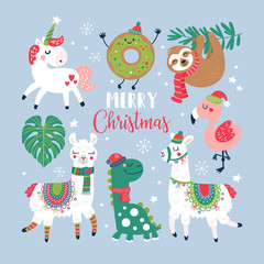 Christmas holiday cute elements set.
