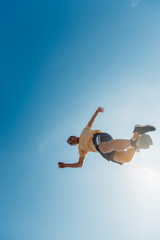 Free runner make parkour in the air