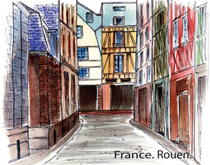 France. Ruan. Watercolor drawing of an old street. City sketch.