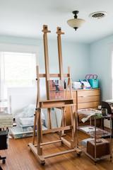 Painting in an art studio