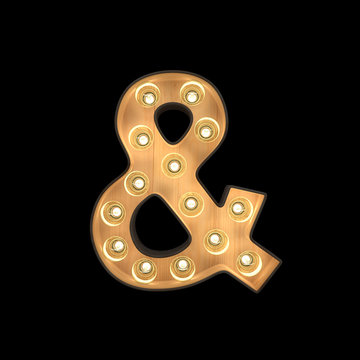 Marquee light Ampersand symbol with clipping path. 3D illustration