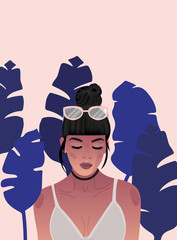 Illustration of woman with sunglasses
