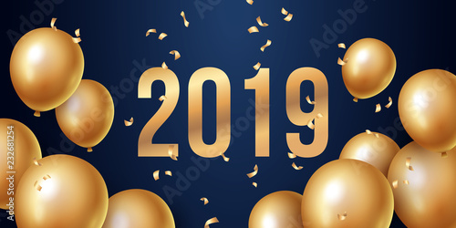 Happy New Year 2019 Background With Floating Party Balloons Vector
