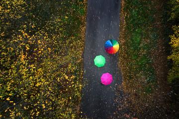 Luftbild Regenschirme auf einer Straße im Herbst