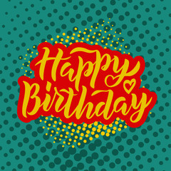 Happy Birthday text on textured background as badge, tag, icon, celebration card, invitation, postcard, banner template. Holiday hand lettering typography poster. Vector illustration.