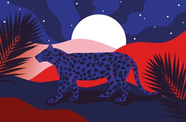 Blue cheetah on red and blue landscape