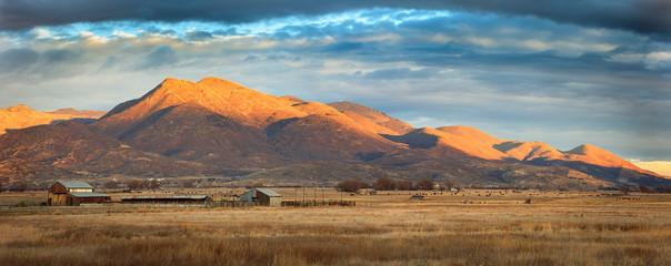 Rural farm panorama in Heber Valley, Utah, USA. Wall mural